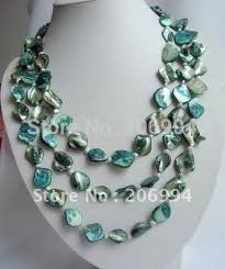 blue shell necklace images Fashion jewelry beautiful long 60 quot 3 row pearl blue shell necklace jpg