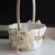 wedding baskets ivory flower girl basket ivory gold wedding basket gold