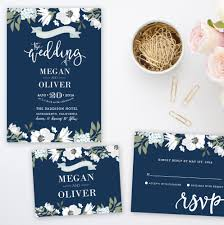 Wedpics Invite Cards Navy Blue Floral Wedding Invitation Suite Printable By