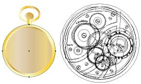 draw a glowing vector pocket watch front and back