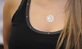personalized monogram necklace personalized monogram necklace groupon goods