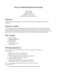 entry level marketing resume samples entry level medical