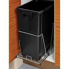 Kitchen Trash Cabinet Pull Out Black 8 Gal Under The Cabinet Pull Out Trash Can The Container