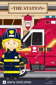 cute cartoon giraffe fireman firefighter fire engine vector
