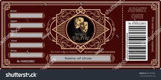 ticket theater vintage show opera concert stock vector 559757863