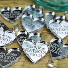personalised heart wedding table centerpieces decorations 2cm