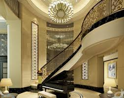 european style villa stairs and piano 3d house