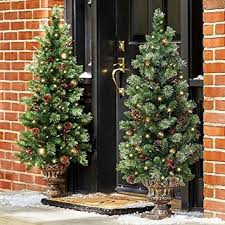 set of 2 48 pre lit battery operated porch tree