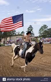 Raleigh Flag Horse Rider Carrying The American Flag Stock Photo Royalty Free