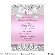 Invitations Birthday Cards Blush Pink Glitter Pearl Bow Quinceanera Birthday 5x7 Paper