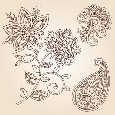 henna tattoo flower doodle vector design elements stock vector