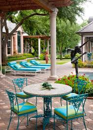 Turquoise Patio Chairs Furniture Amazing Outdoor Living Space With Turquoise Metal Patio
