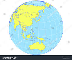 World Map Globe by Vector World Map Orthographic Projection Globe Stock Vector