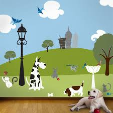 Combination Color Foot Print On Wall Interior Decor In Boy Room With Green Color