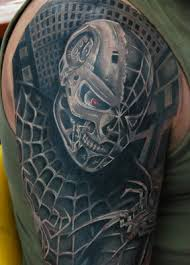 spider web and skull sleeve