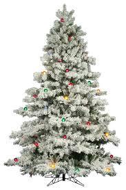 9 prelit flocked alaskan pine tree multicolor lights