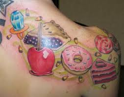 fashion female and have fun candy tattoos