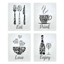 black and white prints for kitchen mosaic kitchen wall black gray prints coffee wine set of