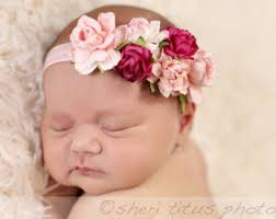 baby flower headbands pink flowers etsy