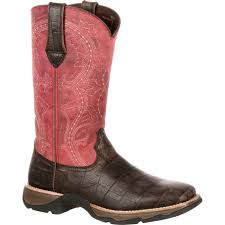 womens size 11 pink cowboy boots rebel by durango s gator embossed boot