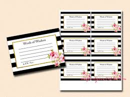 words of wisdom cards for bridal shower words of wisdom cards bridal shower baby shower black