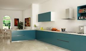 l shaped kitchen design ideas with blue cabinet and white wall