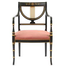 Armchair 406 Vintage Regency Black Lacquered Arm Chair By Whitlock U0027s Furniture