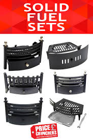 solid 3 piece fuel set front grate fireside fireplace ash pan gate