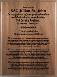 retirement plaque nco creed walnut plaque 9 x 12 army creed retirement plaques