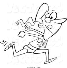 vector of a cartoon track and field woman sprinting outlined