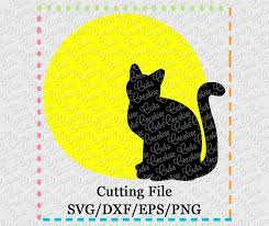 cat in moon svg dxf eps png creative appliques