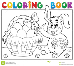 coloring book bunny painting eggs stock vector image 67464511