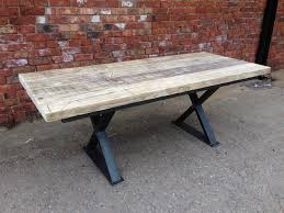 reclaimed wood table with metal legs lovable cross leg dining table reclaimed wood metal cross leg base