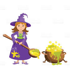 halloween coldren background vector cartoon image witch cauldron potion halloween illustration