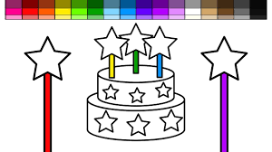 learn colors for kids and color star magic wand birthday cake