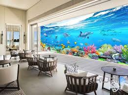 wallpaper for entire wall 3d aquarium glass view turtles dophins entire room wallpaper wall