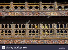 ornamental windows in gangtey monastery in phobjika valley