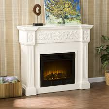 calvert carved electric fireplace ivory