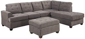 gray sectional with ottoman amazon com 3pc modern reversible grey charcoal sectional sofa couch