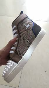 christian louboutin grey white spike high sneakers christian