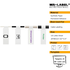Mi Flag Inkjet U0026 Laser Flag Cable Labels 20 Us Letter Sheets Mr Label