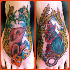 pig and rooster tattoos by marco oak city tattoos raleigh