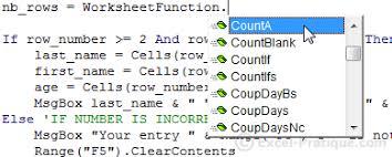 worksheetfunction counta vba worksheetfunction countif vba and