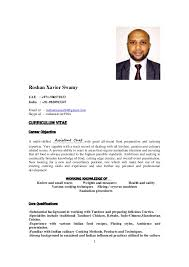 Commi Chef Resume Sample by Indian Chef Roshan Xavier Resume