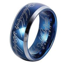 lord of the rings wedding band 8mm sapphire blue tungsten carbide ring lord of the rings wedding