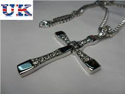 mens cross chain necklace images Mens silver cross chain necklace fast and furious movie dominic jpg