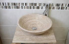 Stone Basin Vanity Unit Cloakroom Bathroom Vanity Unit Oak Travertine Stone Wash Stand And