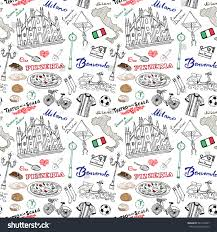 Milan Italy Map Milan Italy Seamless Pattern Hand Drawn Stock Vector 361264367