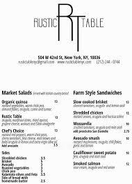 farm to table restaurants nyc menu at rustic table restaurant new york city