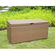 amazon com jeco wicker patio storage deck box in honey patio